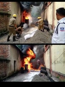 A PLACE NEAR BELUR STATION ROAD CAUGHT FIRE, SITUATION GOT UNDER CONTROL AFTER THE ARRIVAL OF FIRE BRIGADE