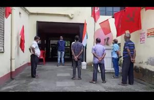CPIM PARTY MEMBERS HOISTED INDIAN NATIONAL FLAG