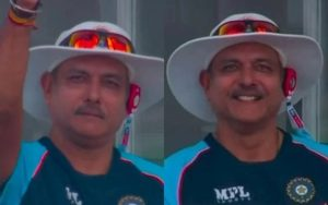 Ravi Sastri gives thumbs up to Dinesh Kaethir. India`s second day in the test series